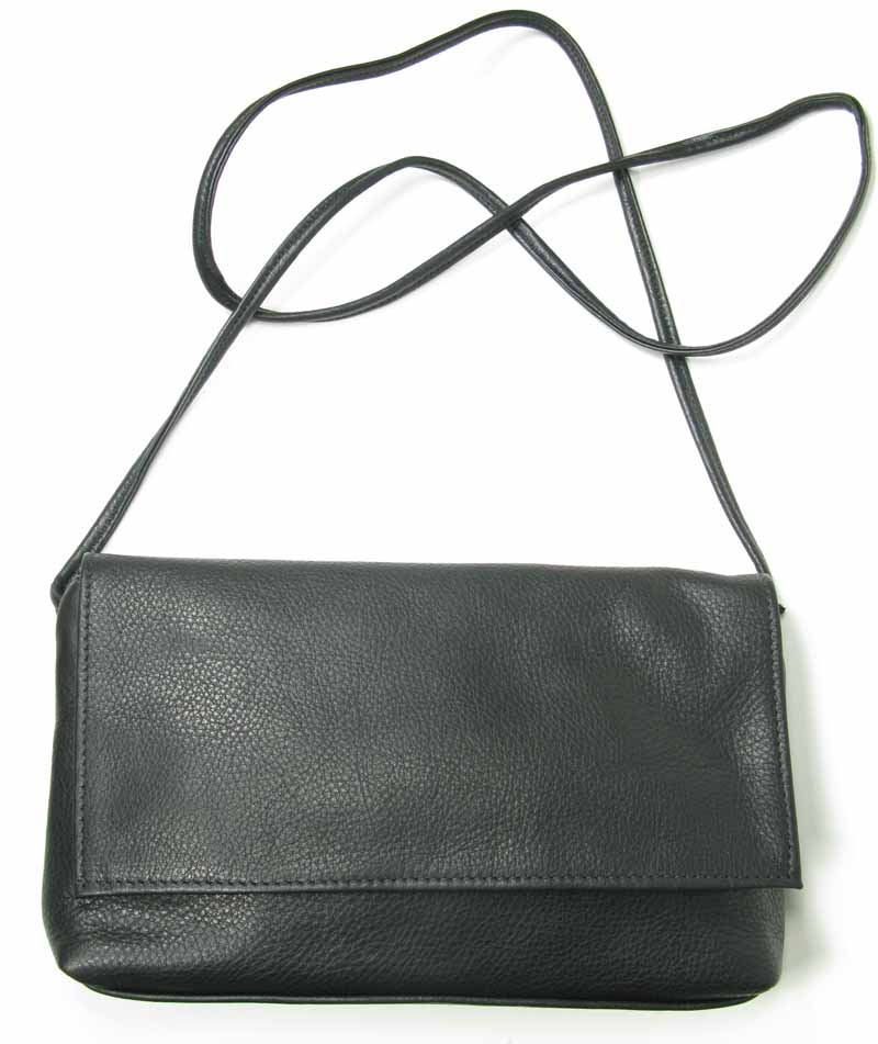 Slim Leather Bag with Flap 5x9x2