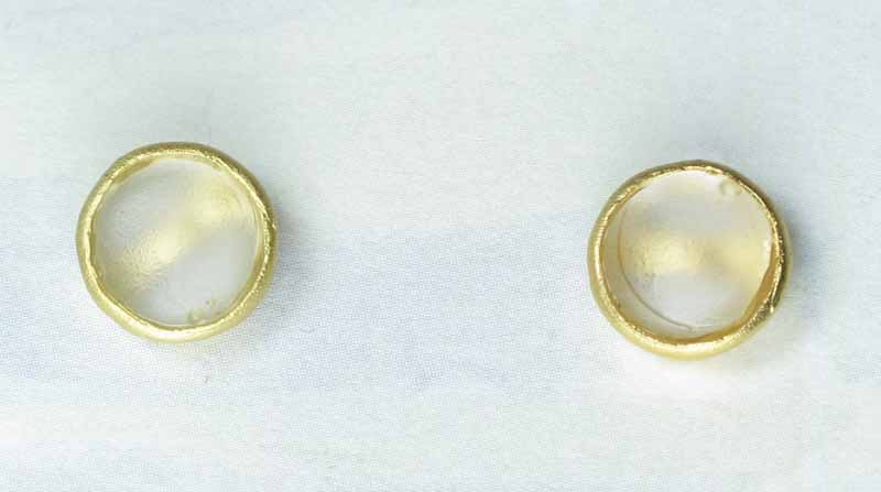 Cast Glass Post Earrings in Pearl