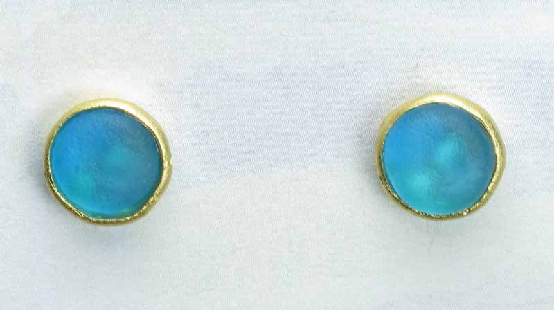 Cast Glass Post Earrings in Turquoise