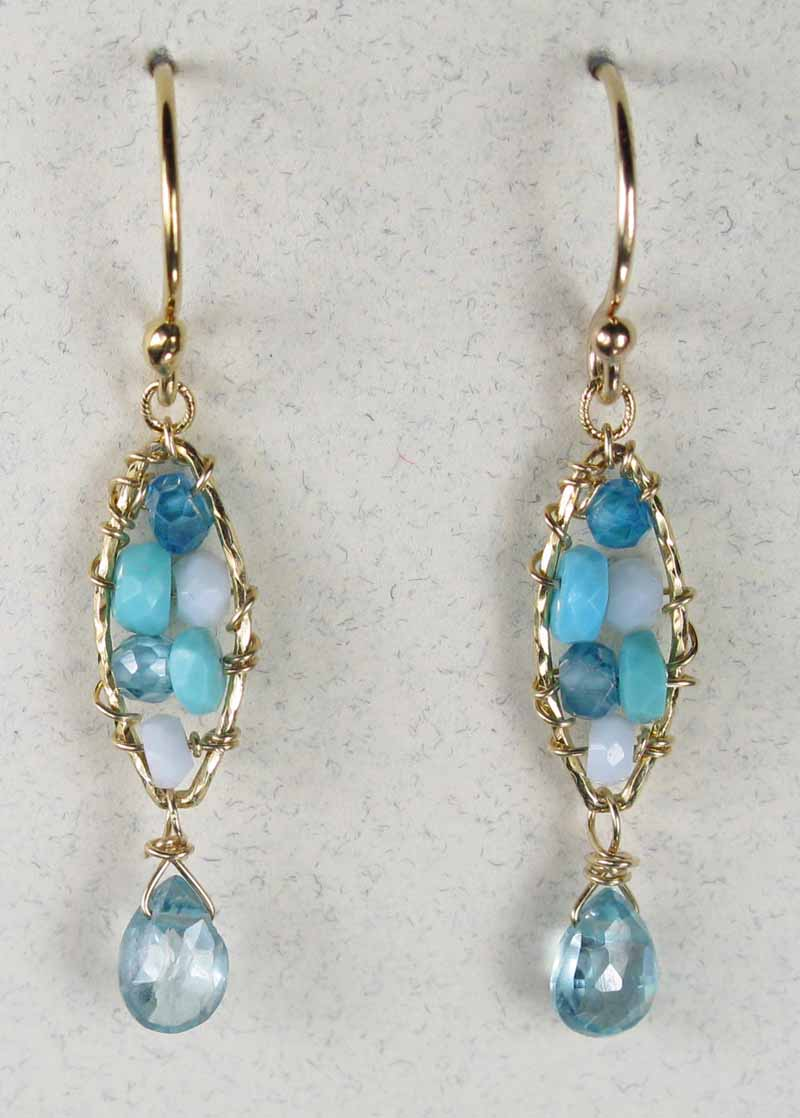 Woven Gemstone Earrings - Marquis with Drop in Turquoise Mix