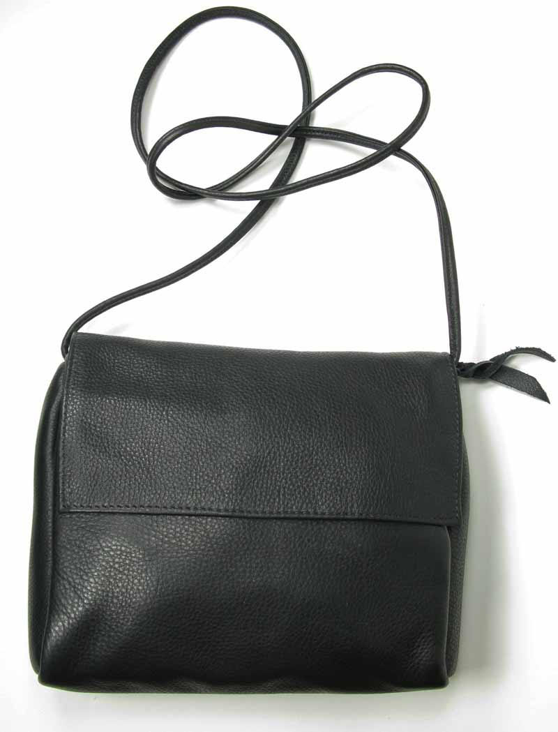 Roomy Leather Bag with Flap 7.5x8.5x2.5