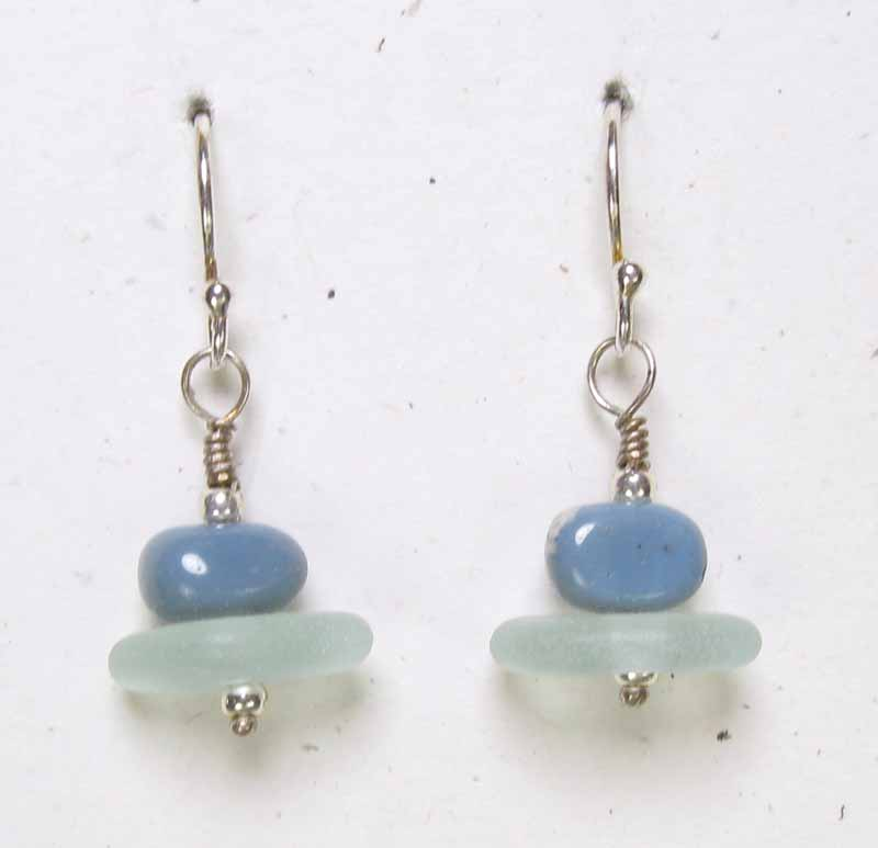 Leland Blue and Beach Glass Earrings