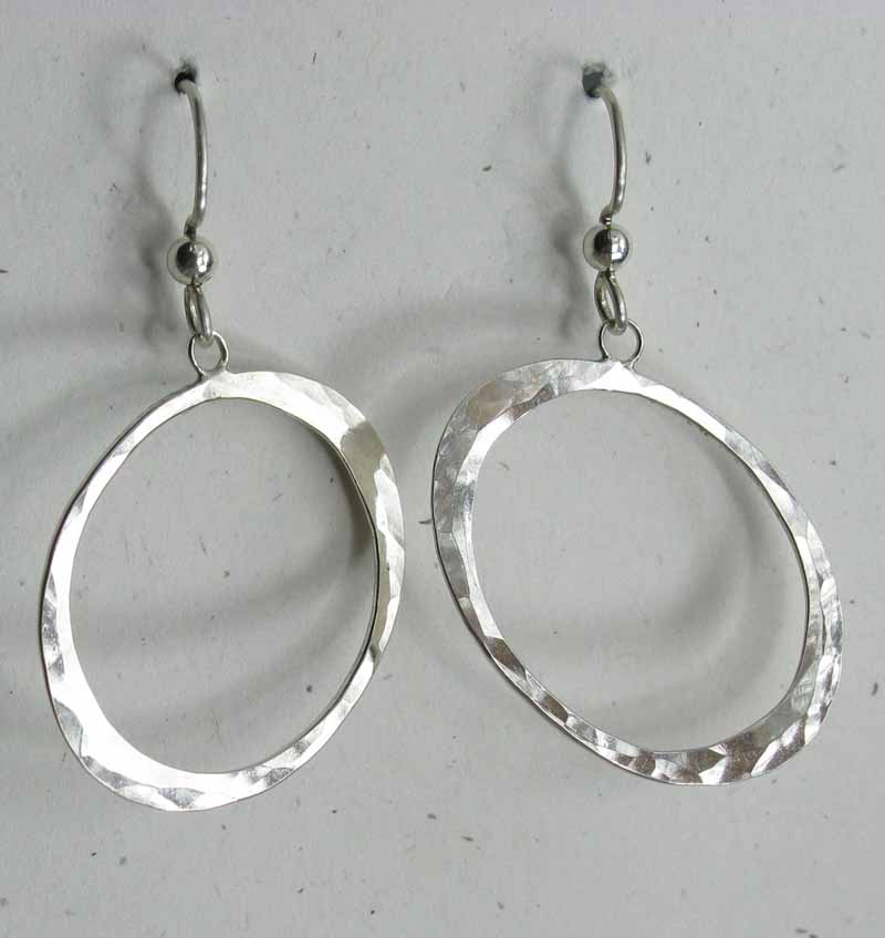 Diagonal Oval Sterling Earrings
