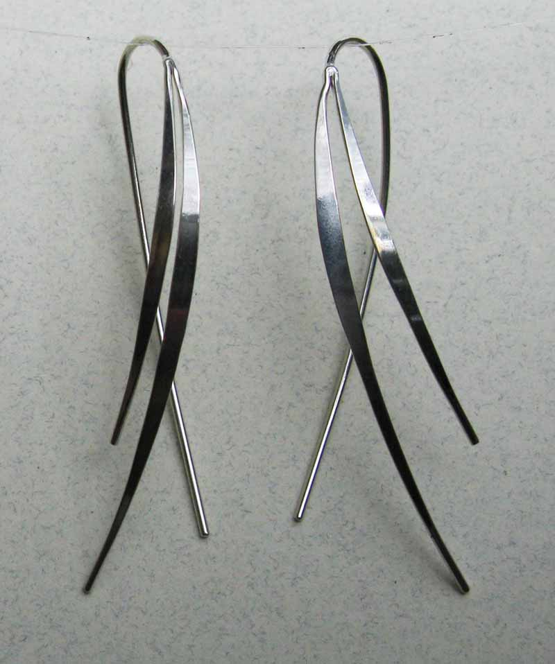 Curved Spear Sterling Earrings