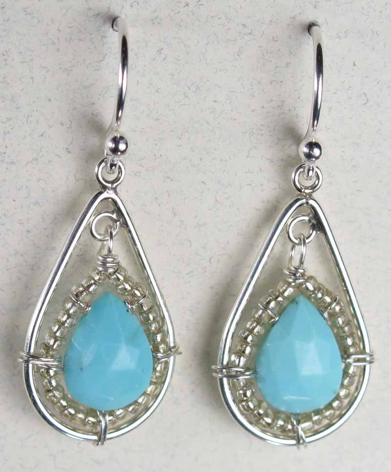 Earrings with Faceted Teardrop in Turquoise