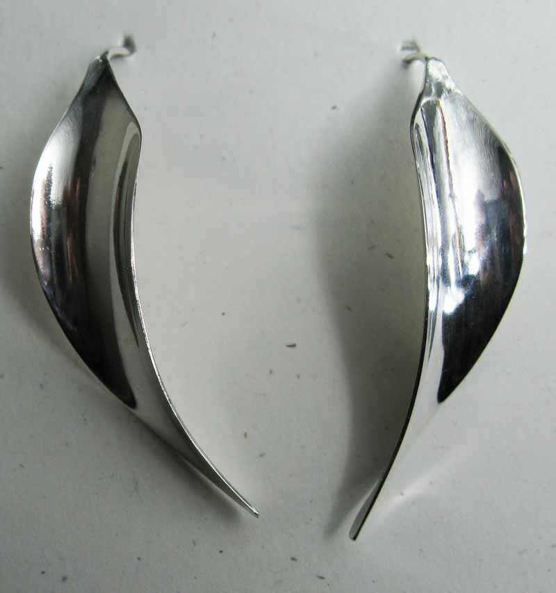 Curved Leaf Earrings in Sterling Silver