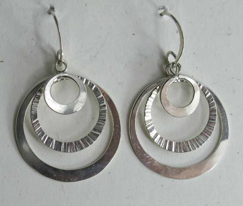 Multi-Layered Textured Hoops in Sterling Silver