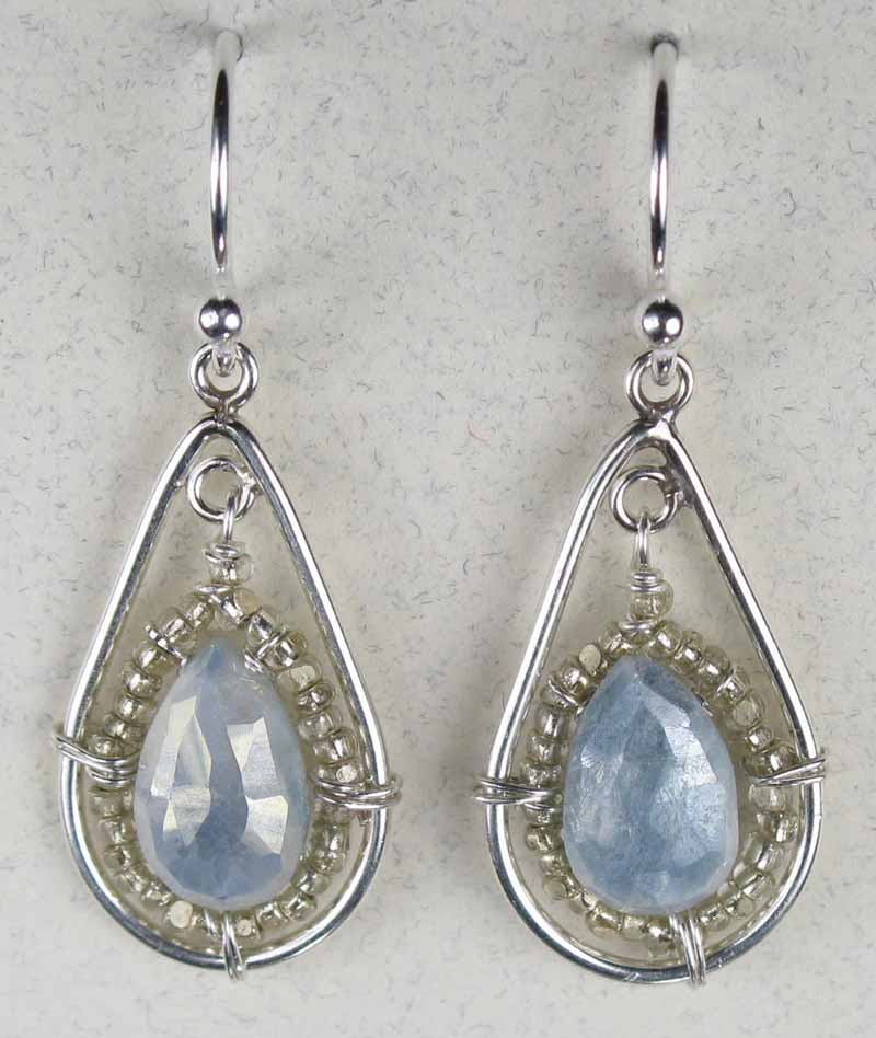 Earrings with Faceted Teardrop in Blue Silverite