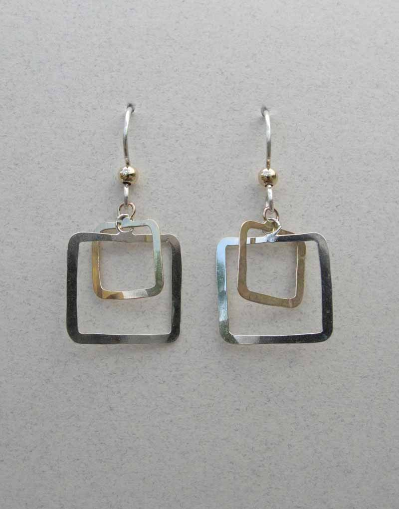 Open Square Hoops in Mixed Metals