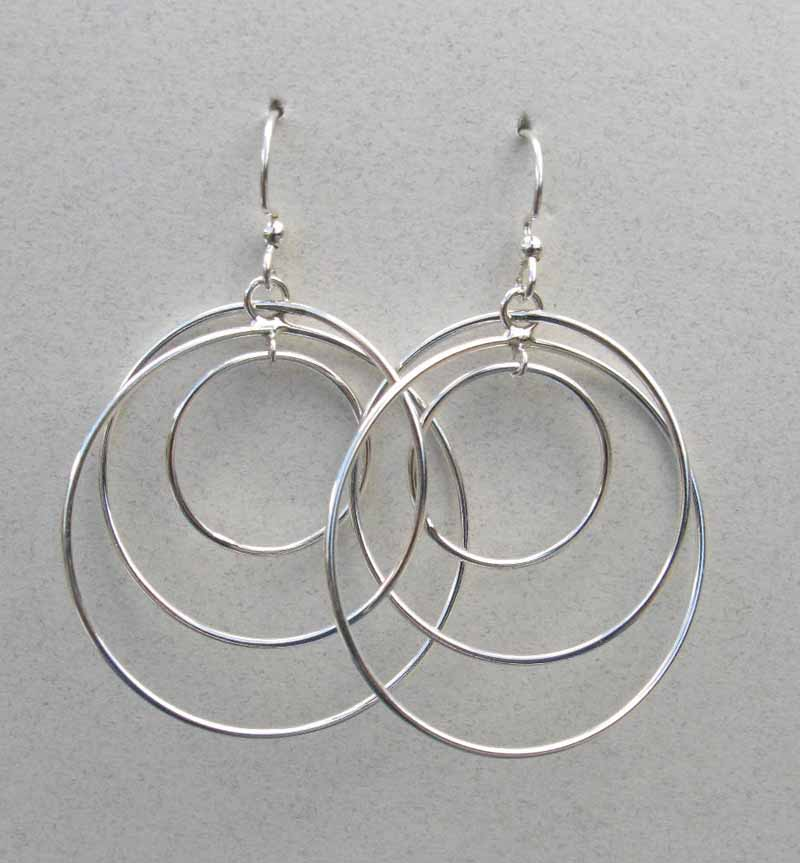 3 Offset Hoops in Sterling Silver