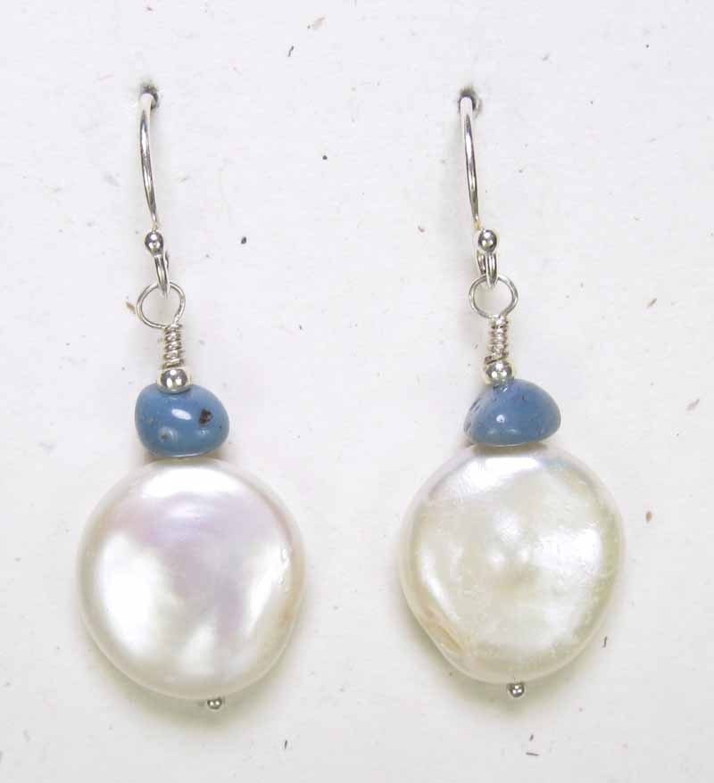 Coin Pearl and Leland Blue Stone Earrings