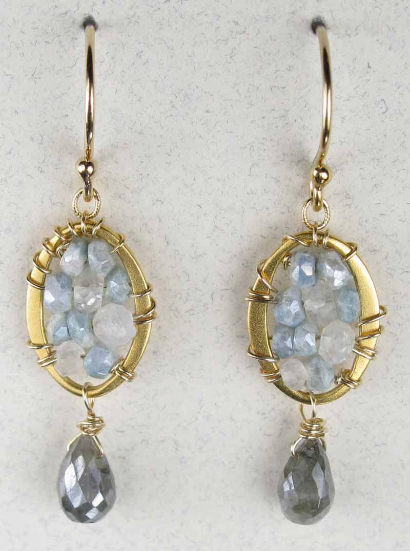 Woven Oval Earrings in Blue-Grey Silverite with Drop