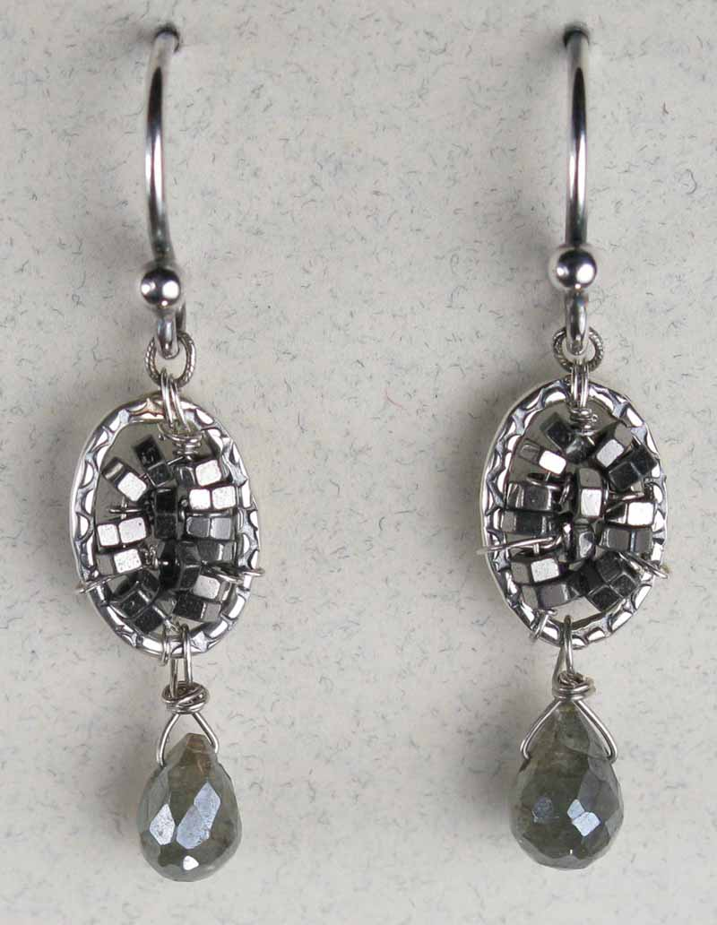 Woven Oval Earrings in Hematite with Drop
