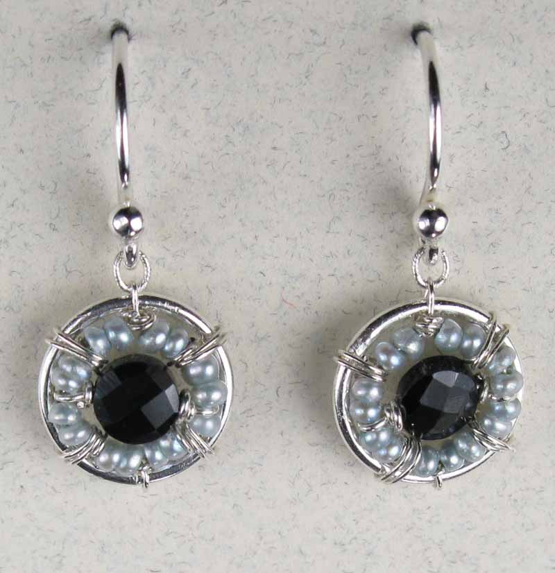 Black Spinel and Freshwater Pearl Earrings
