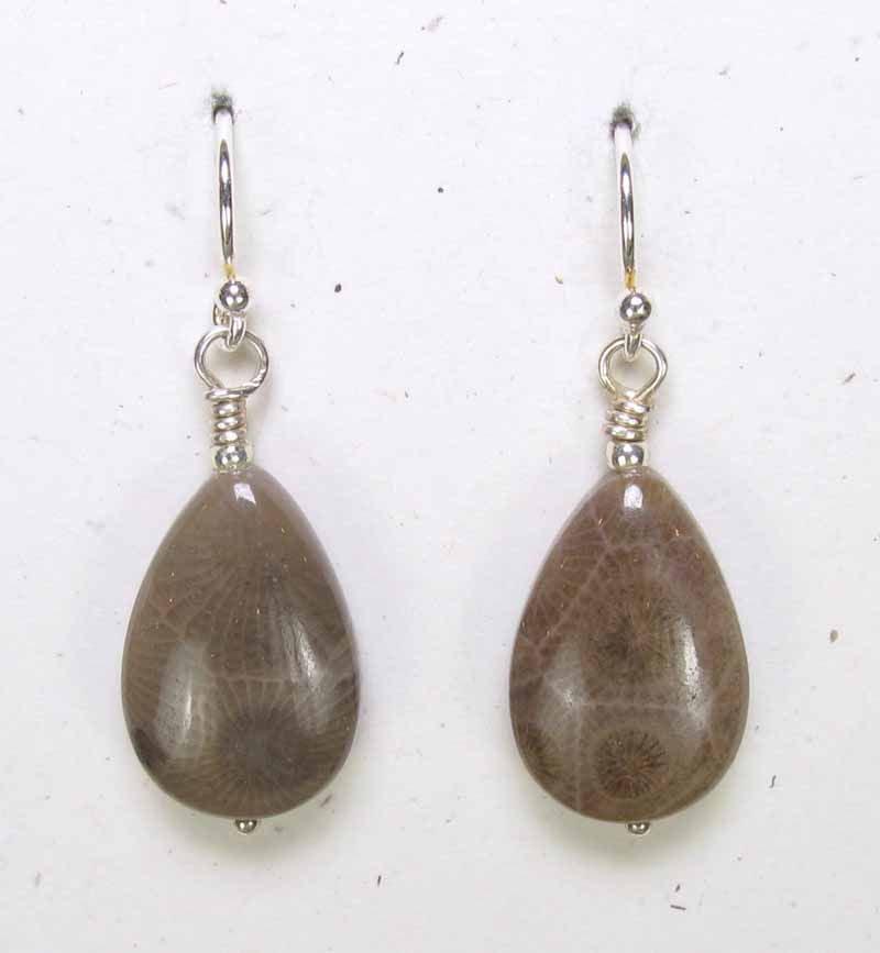 Petoskey Stone Teardrop Earrings