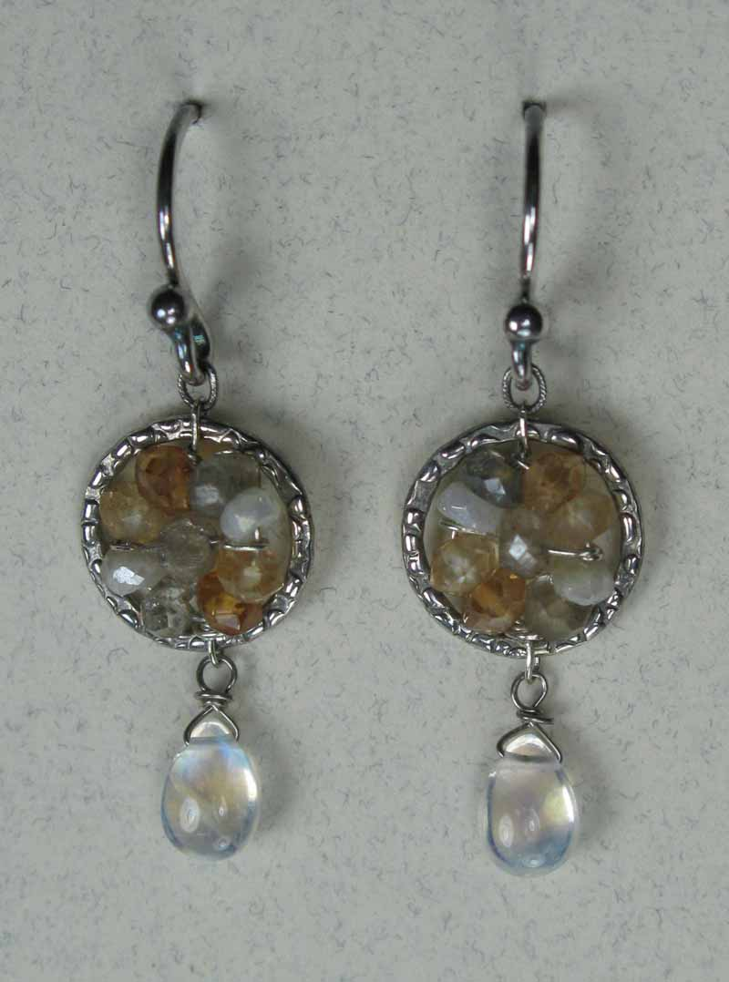 Textured Round Woven Gemstone Earrings in Mystic Moonstone Mix with Drop