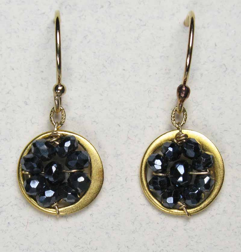 Round Woven Gemstone Earrings in Black Spinel
