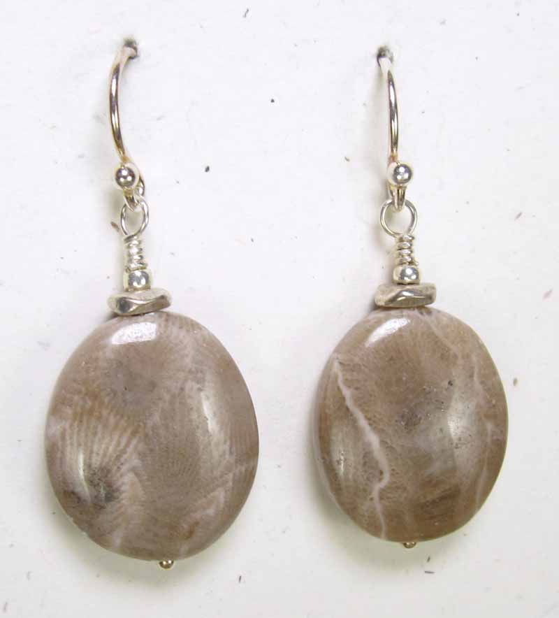Large Natural Petoskey Stone Earrings