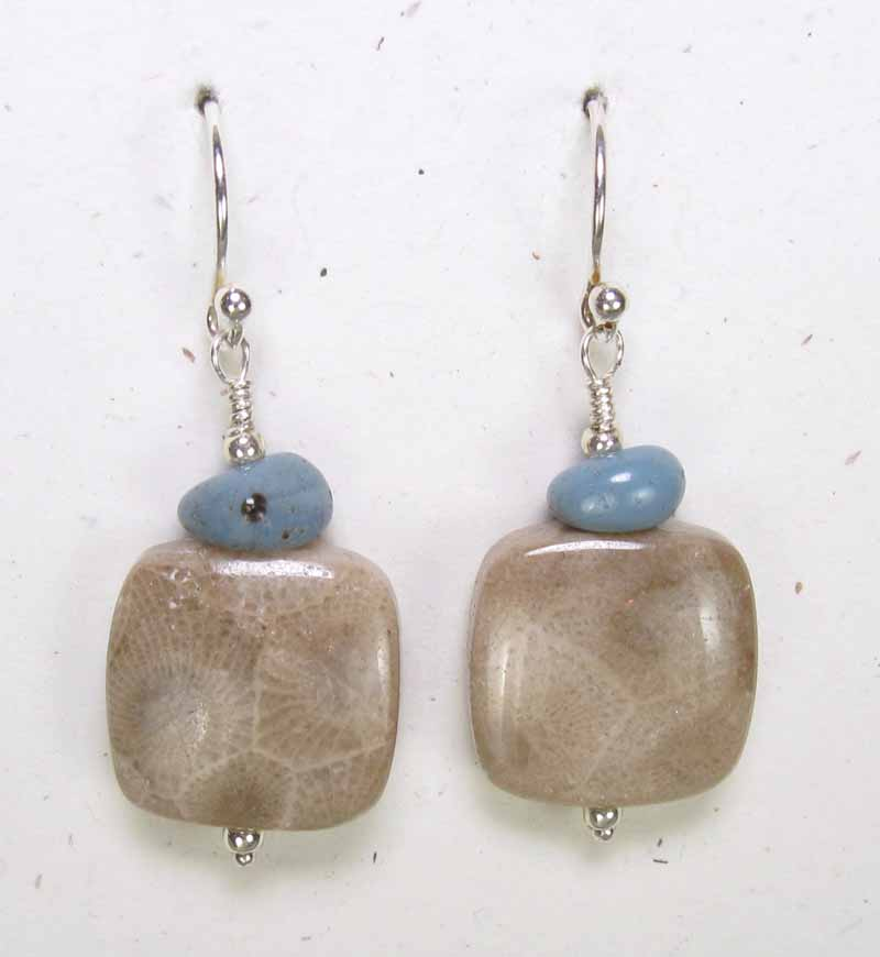 Lg Square Petoskey Stone Earrings with Leland Blue