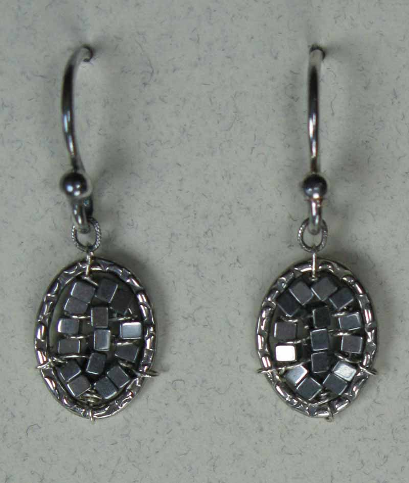 Woven Oval Earrings in Hematite