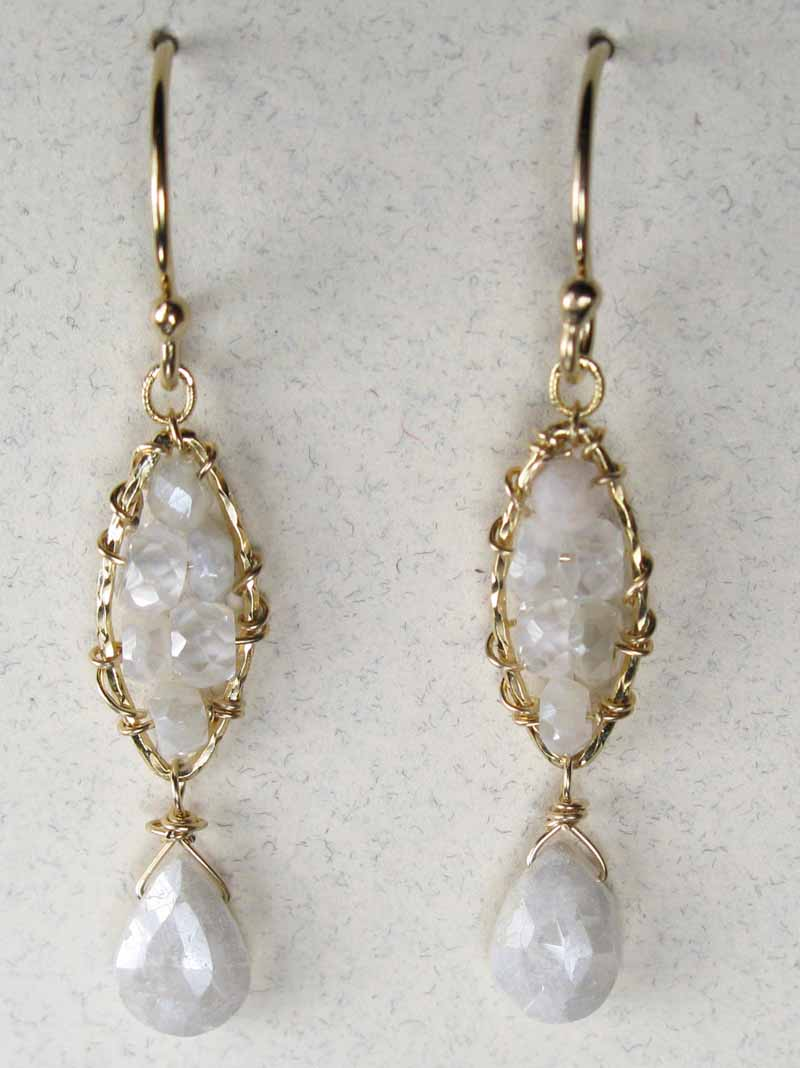 Woven Gemstone Earrings - Marquis with Drop in White Sapphire