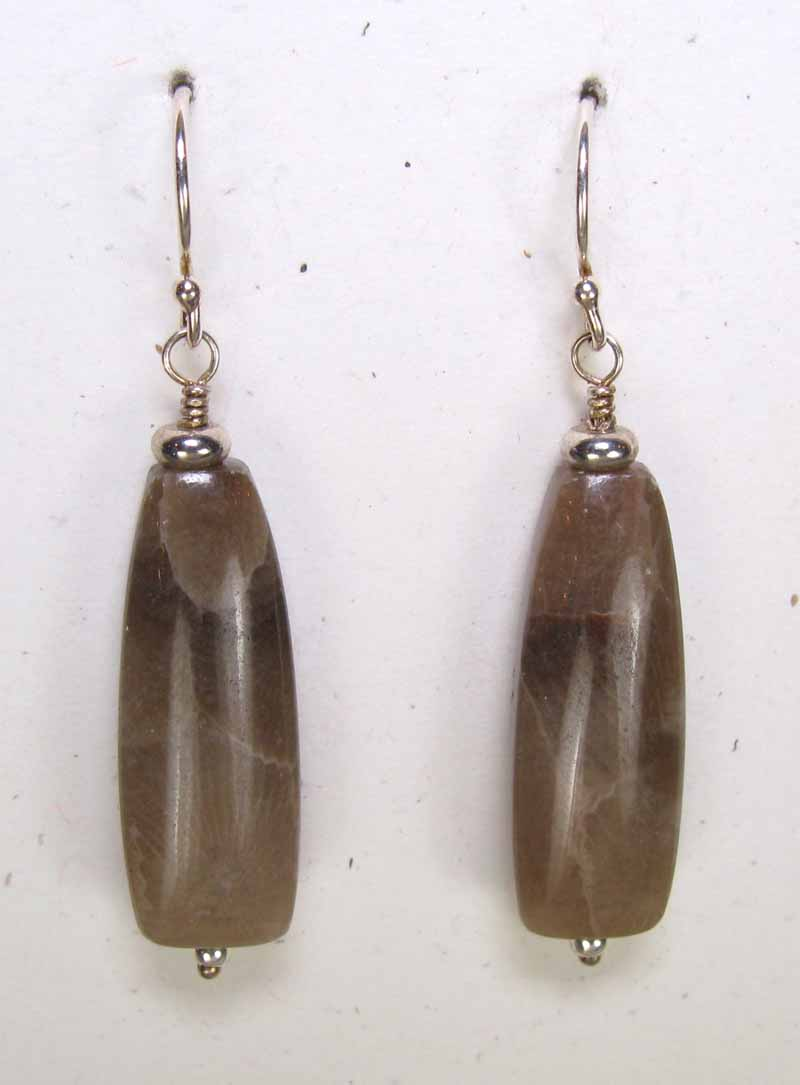 Petoskey Stone Long Drop Earrings