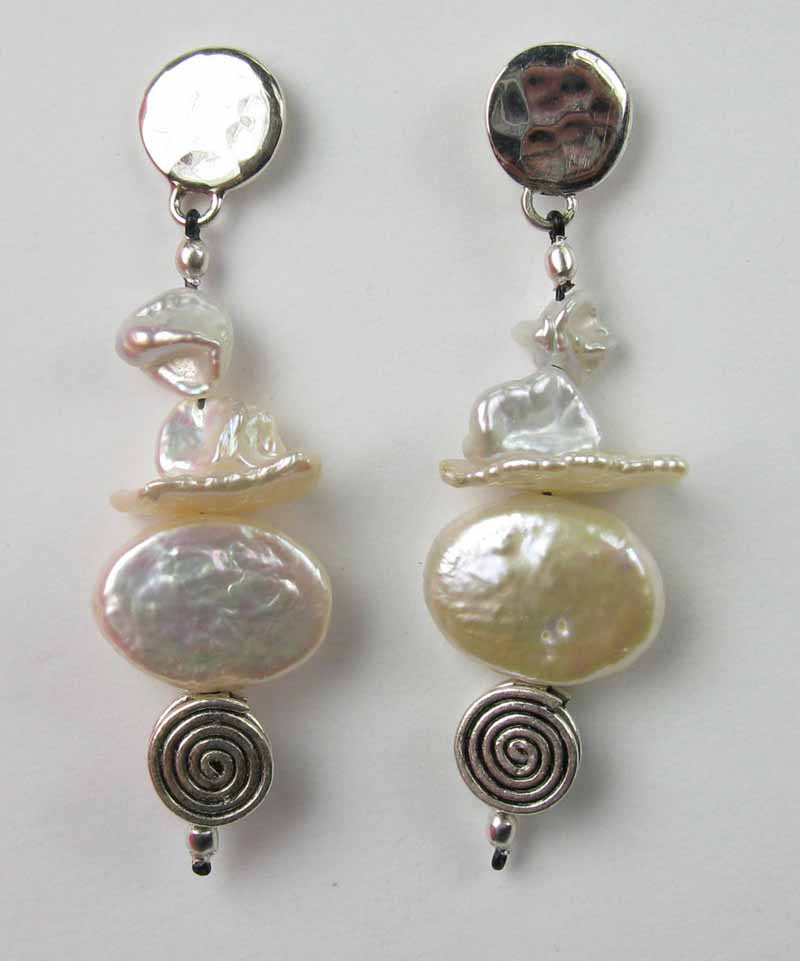 Pearls and Spirals Earrings