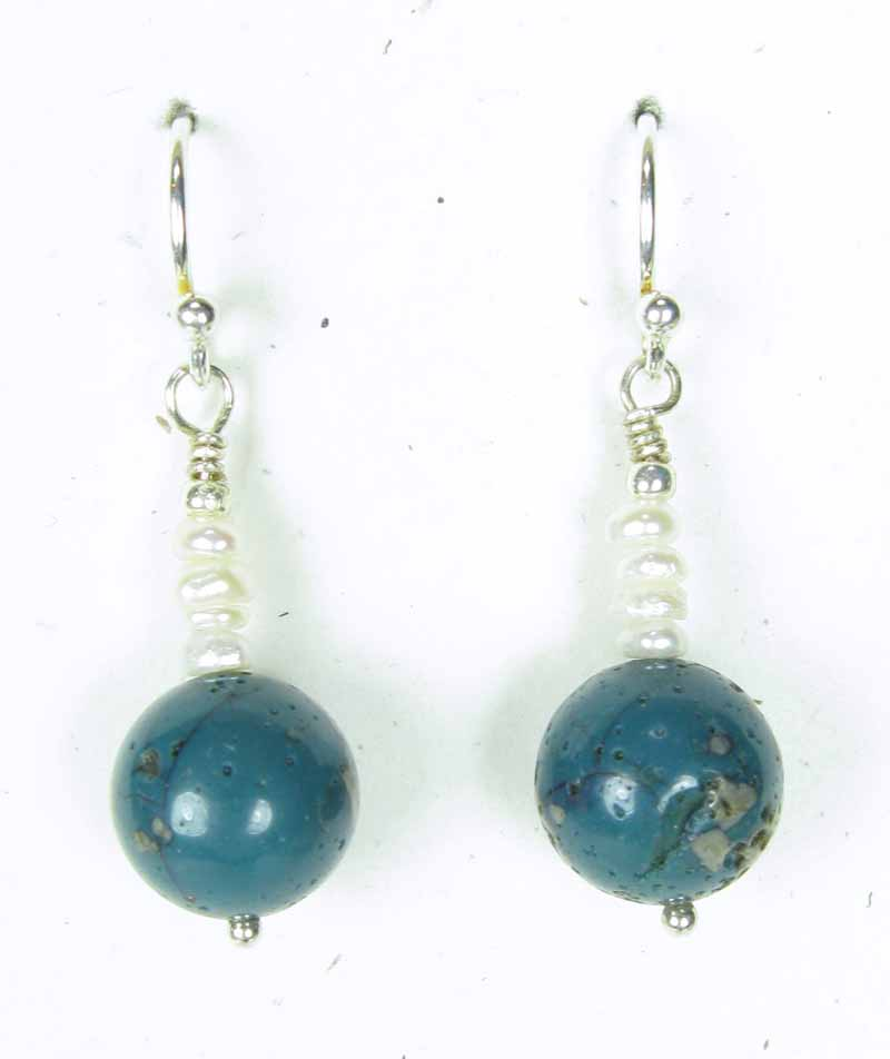 Leland Blue Round Earrings with Tiny Pearls