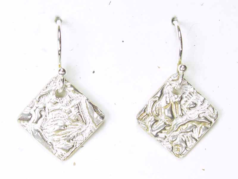 Diamond Shaped Silver Earrings in Metal Clay