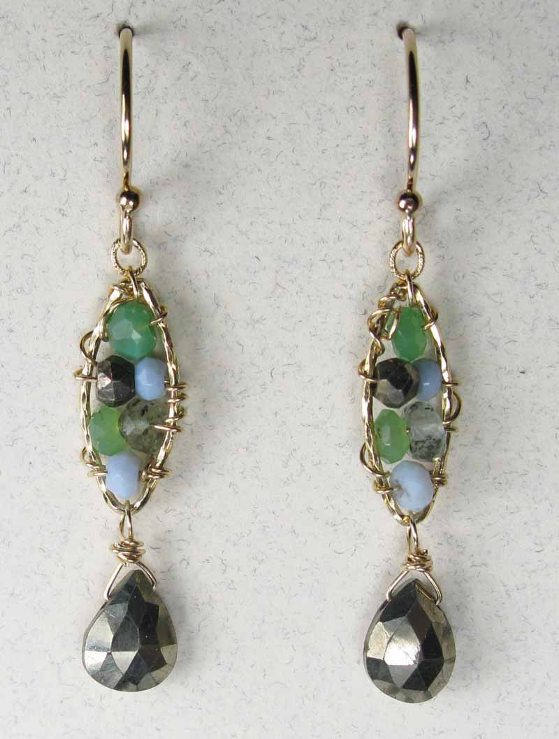 Woven Gemstone Earrings - Marquis with Drop in Moss Mix