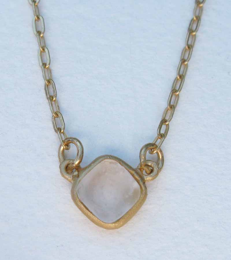 Small Diamond Shape Necklace in Cast Glass