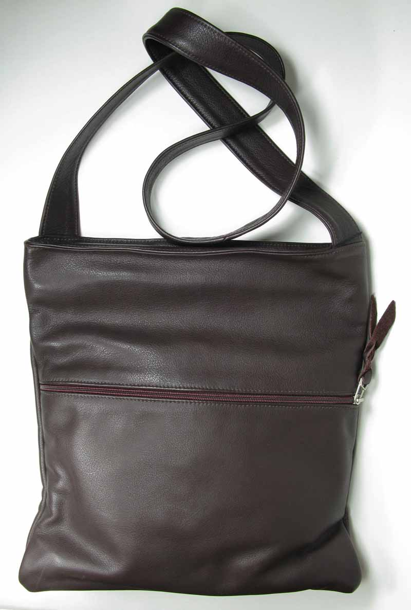 Leather Cross-Body Bag in Dark Chocolate