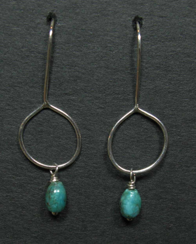 Turquoise Drop Earrings in Hand Formed Silver