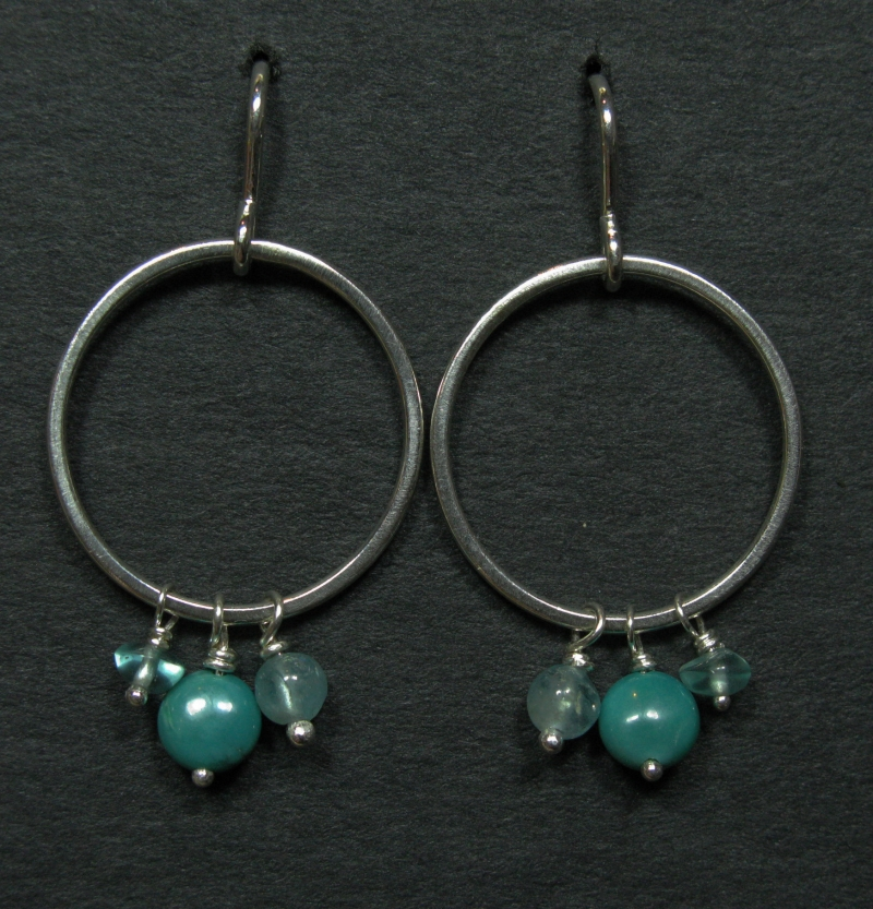 Silver Earrings with Apatite and Turquoise Drops