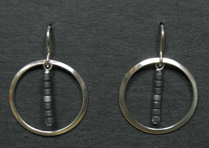 Silver Earrings with Hematite Beads