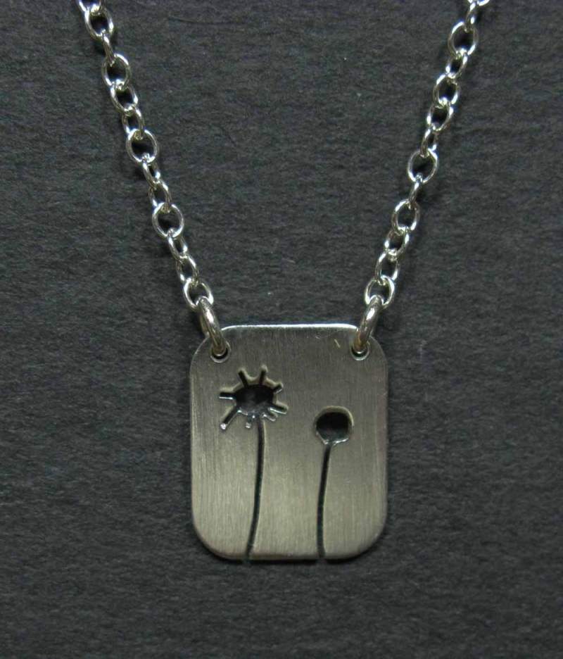 Silver Necklace - Sunflower and Bud