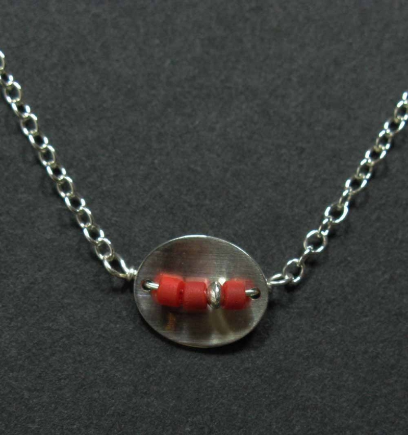 Silver Cupped Necklace with Coral