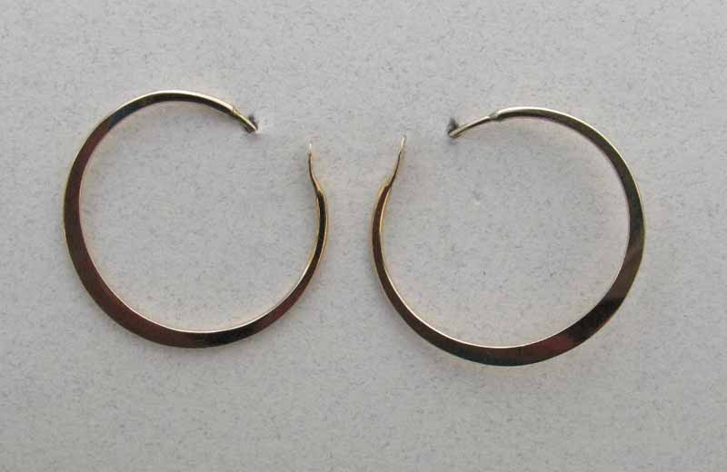 Simple Flat Hoops in Gold