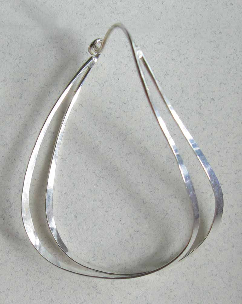 Large Oval Double Wire Earrings in Sterling Silver