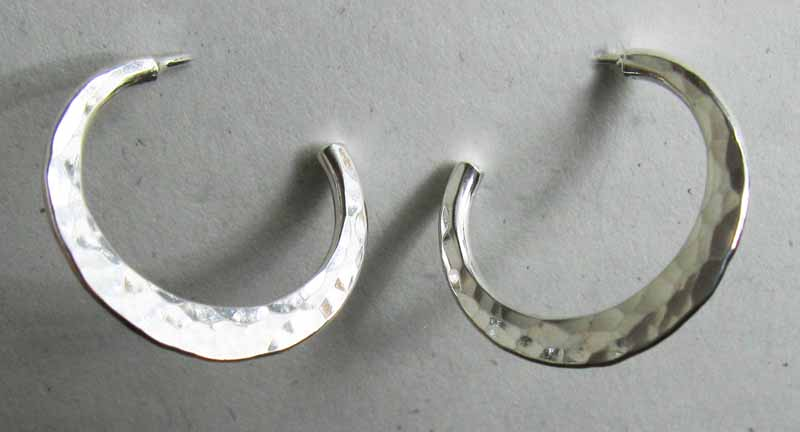 Flat Hammered Hoop Earrings in Sterling Silver