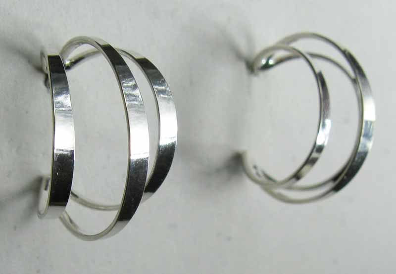 Triple Hoop Earrings in Sterling Silver