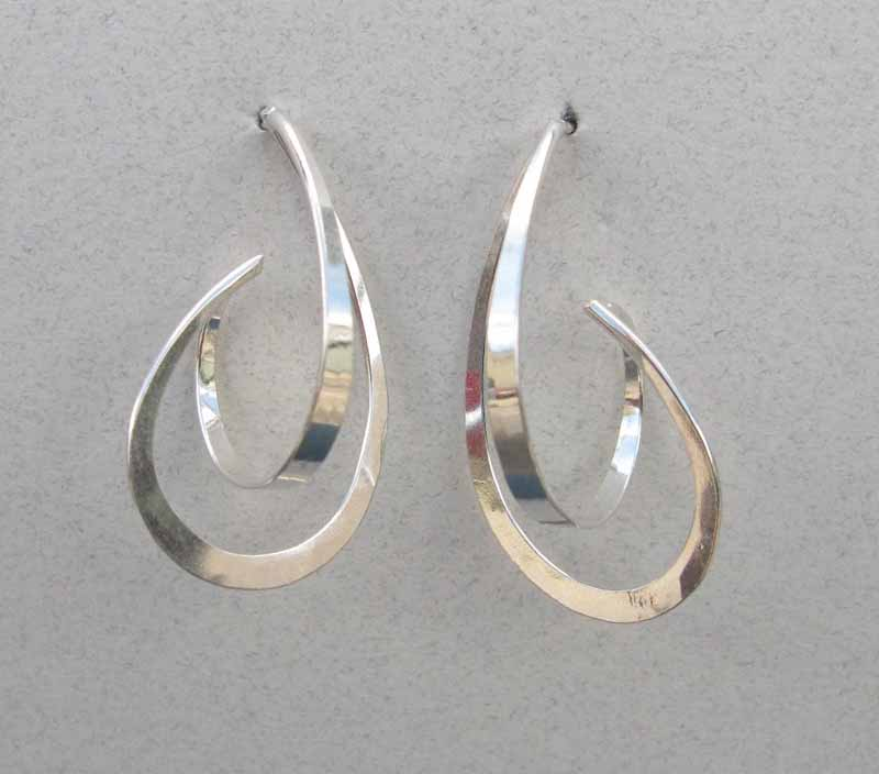 Large 3D Teardrop Earrings in Sterling Silver