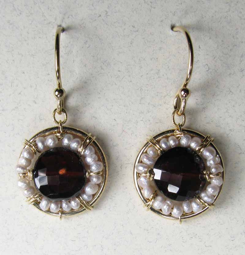 Garnet and Freshwater Pearl Earrings