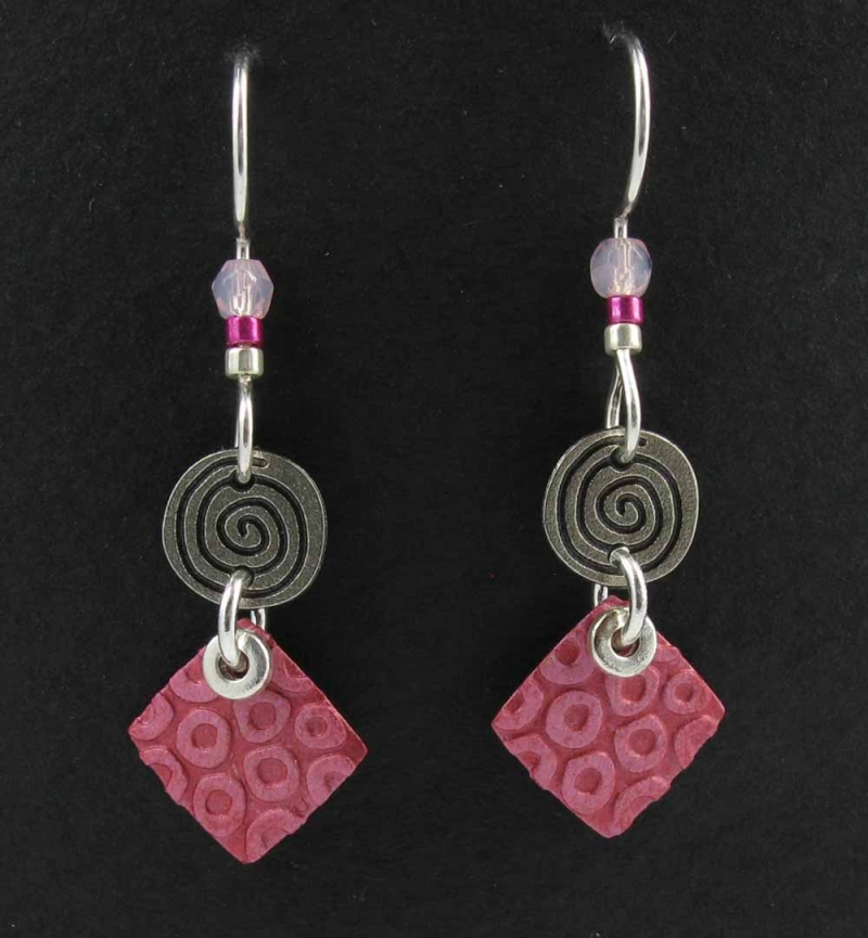 Circle with square earrings