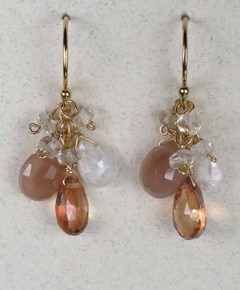Gemstone Cluster Earrings in Blush Mix