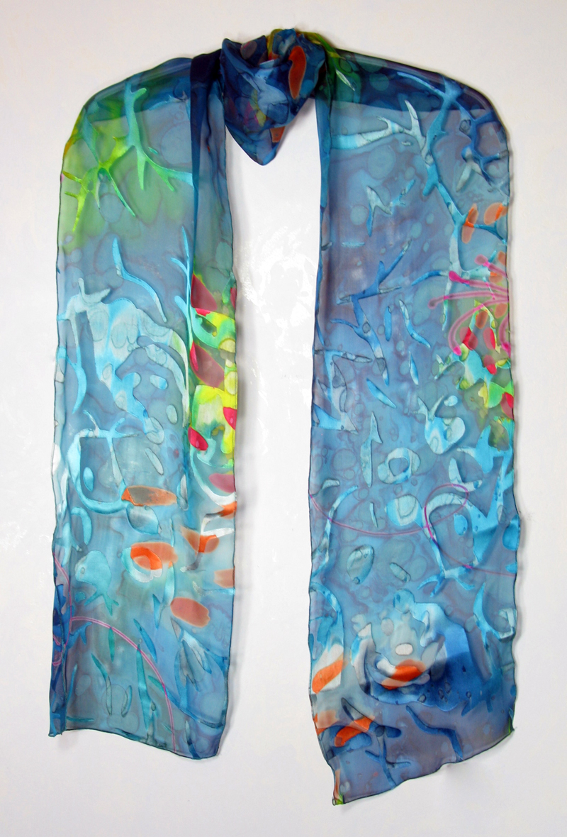 Hand-painted silk/rayon scarf - Aqua Brights
