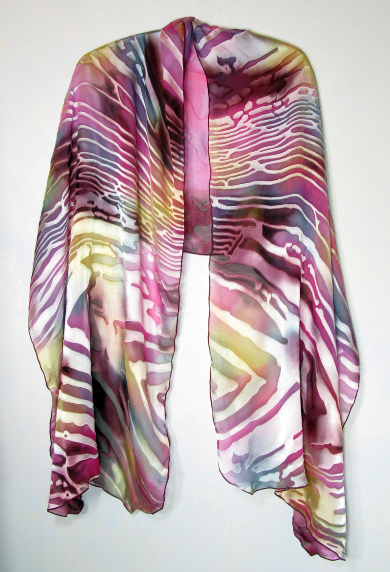 Hand-painted silk/rayon shawl - Hot Pink Waves