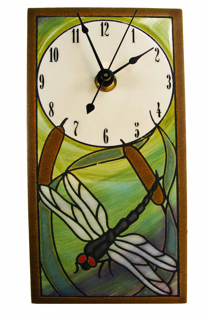 Round Rectangular Wall Clock - Dragonflies & Bulrushes
