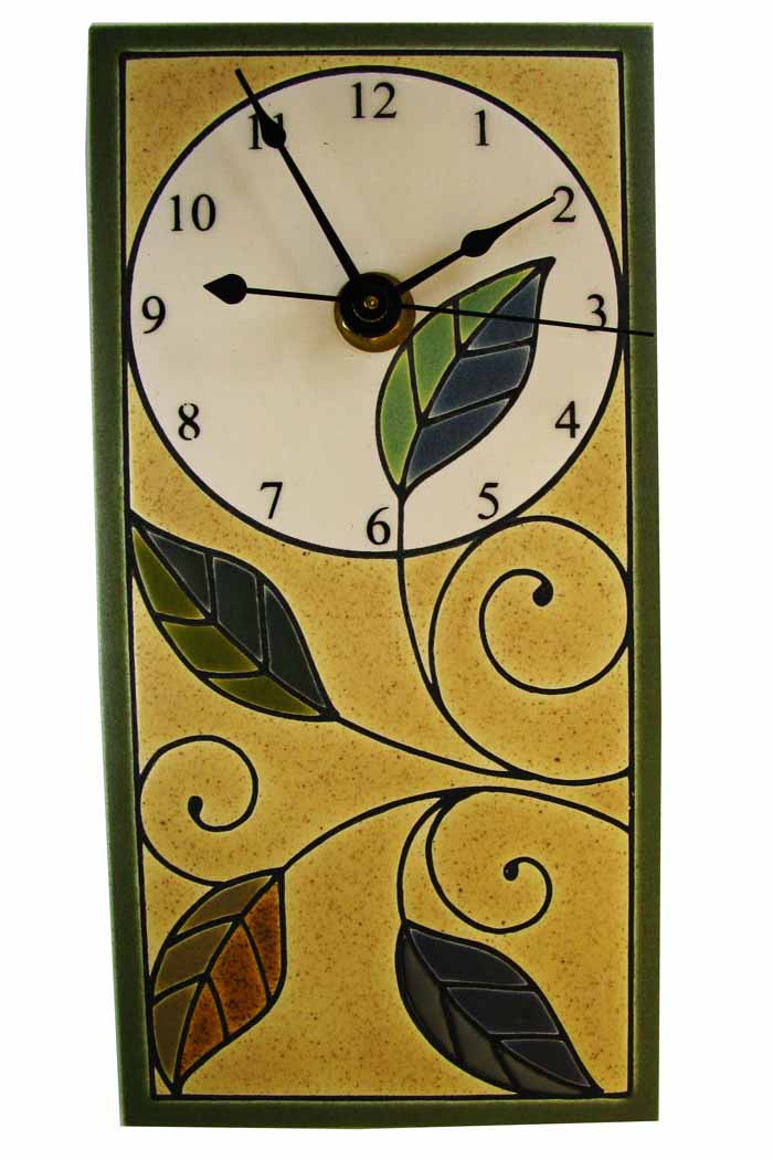 Rectangular Wall Clock - Mosaic Leaves