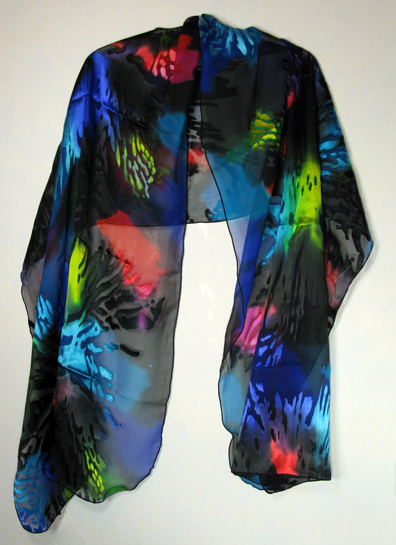 Hand-painted silk/rayon shawl - Black and Jewel Brights